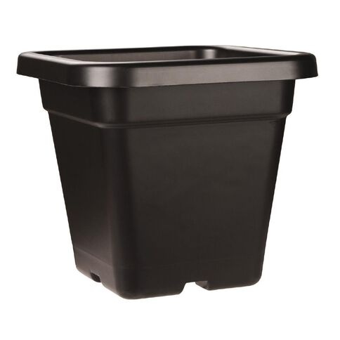 Interworld Square Black Recycled Resin Planter Pot 18L