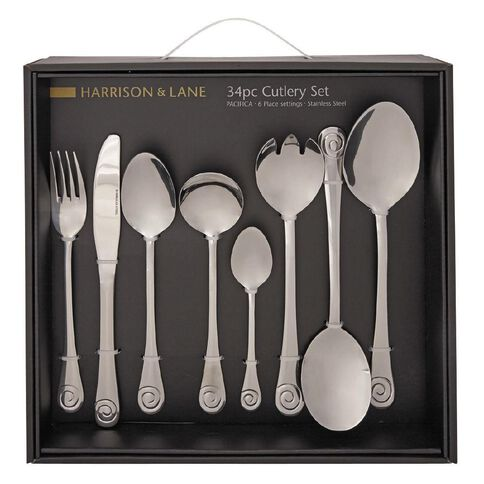 Harrison & Lane Pacifica Stainless Steel Cutlery Set 34 Piece