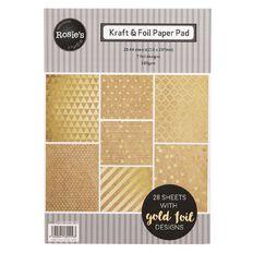 Rosie's Studio Foil & Kraft Paper Pad A4 28 Sheets