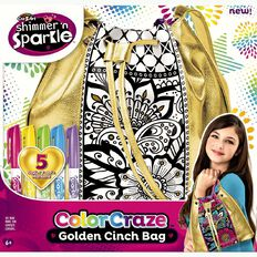 Shimmer n Sparkle Denim & Gold Cinch Bags Assorted - Exclusive