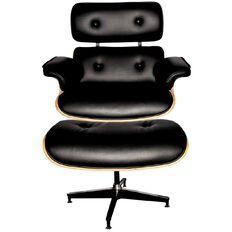 Eames Replica Chair & Ottoman Black