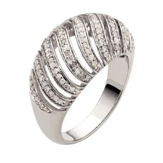 1/2 Carat of Diamonds Sterling Silver Diamond Fancy Dome Ring