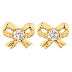 9ct Gold CZ Bow Stud Earrings