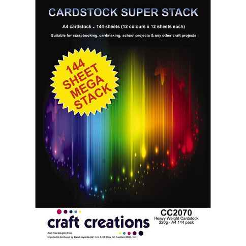 Craft Creations Cardstock A4 Stack Mega 144 Piece