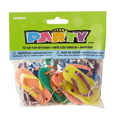 Unique Party Favours Flip Flop Keychains 12 Pack