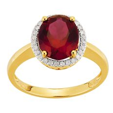 9ct Gold Diamond Synthetic Ruby Round Halo Ring