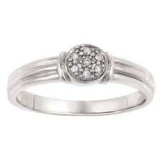 Sterling Silver Diamond Round Ring