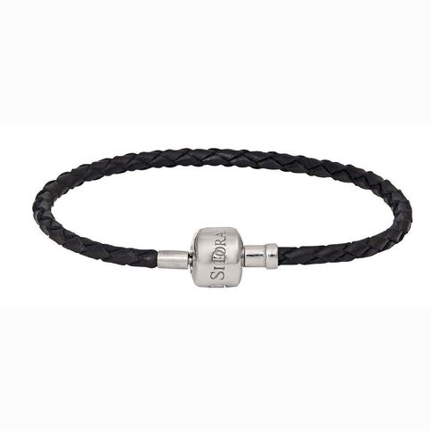 Ane Si Dora Sterling Silver and Leather Bracelet 19cm