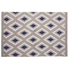 Living & Co Rug Aztec Diamond  Grey/Blue 120cm x 170cm