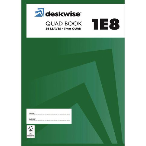 Deskwise Exercise Book 1E8 7mm Quad 36 Leaf