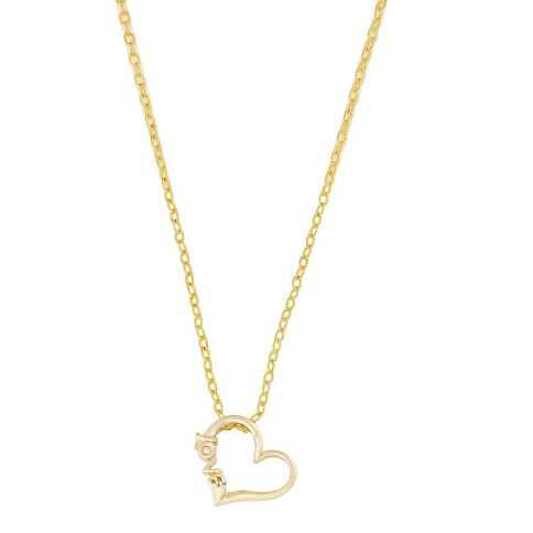 9ct Gold Diamond Love Heart Pendant