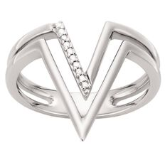 Giovani Sterling Silver Diamond V Ring