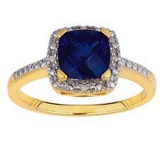 9ct Gold Diamond Synthetic Sapphire Cushion Cut Ring