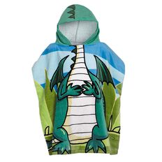 Living & Co Kids Beach Towel Printed Hooded Dinosaur 60cm x 120cm