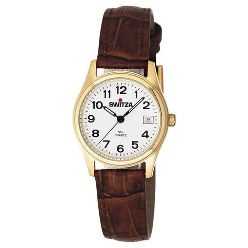 Switza Ladies' PVD Gold Classic Watch with Brown Strap
