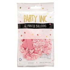 Party Inc Balloons Printed Pink Hearts 25cm 12 Pack