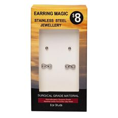 Stainless Steel Infinity and Ball Studs Earrings 2 Pack