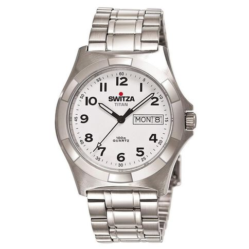 Switza Men's Stainless Steel Watch with White Figure Dial