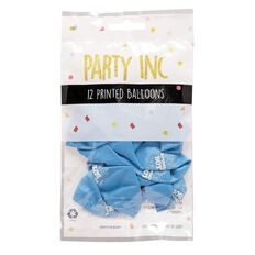 Party Inc Balloons Printed Happy Birthday Boy 25cm 12 Pack