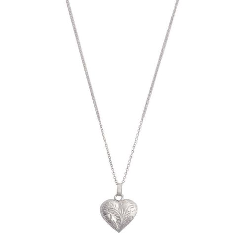 Sterling Silver Engraved Puff Heart Pendant