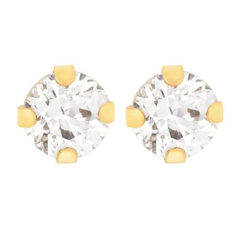 9ct Gold 4 Claw CZ Stud Earrings 3mm