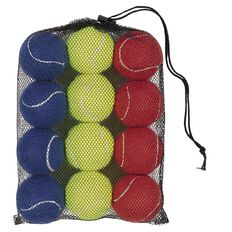 Basics Brand Tennis Balls Colour 12 Pack