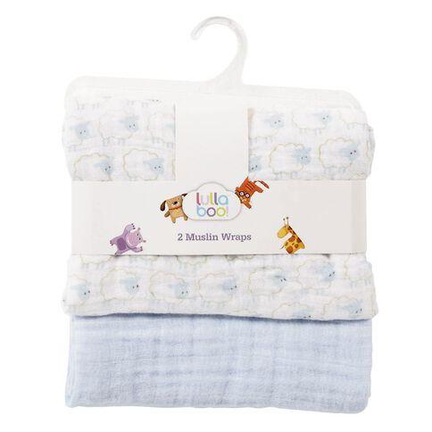 Lullaboo Muslin Wraps Blue 2 Pack