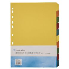 Deskwise Dividers Coloured Card 10 Tab