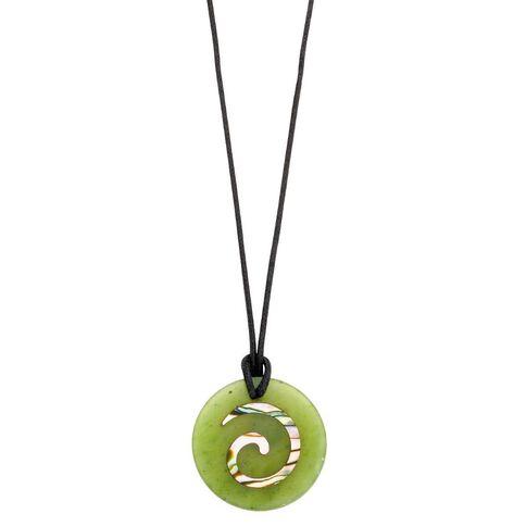 Paua Shell Inlaid Jade Pendant Koru 25mm