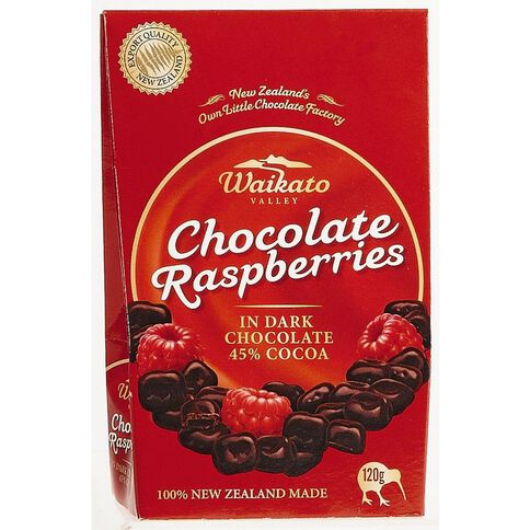 Waikato Valley Chocolates Dark Chocolate Raspberries 120g