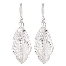Sterling Silver CZ Leaf Earrings
