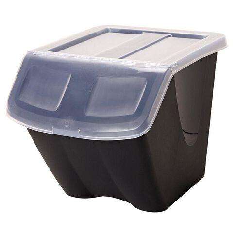 Taurus Stackable Shutter Bin 38L Black