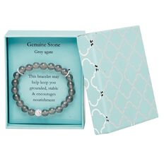 Stainless Steel Grey Agate Bracelet