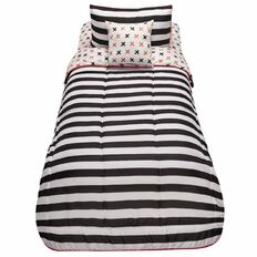 Living & Co Kids Comforter Set Stripe 4 Piece Coral Single