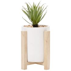 Living & Co Limited Edition Habitat Cement Planter with Stand White