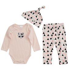 Hippo + Friends Baby Girl 3 Piece Set