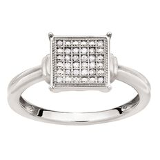 1/10 Carat of Diamonds Sterling Silver Diamond Square Ring