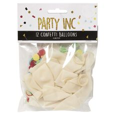 Party Inc Confetti Balloons Clear 25cm 12 Pack