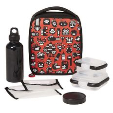 Necessities Brand Lunch Set Robots Red 7 Piece