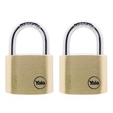 Yale 110 Series Padlock Brass 40mm Twin Pack