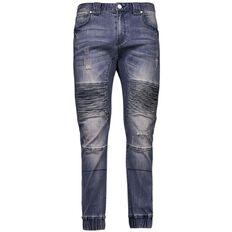 Amco Men's Cuffed Moto Jeans