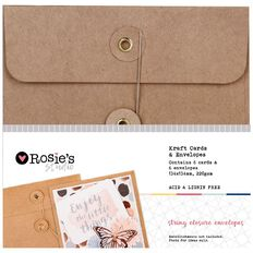 Rosie's Studio Kraft Cards & Envelopes w String Close 134x134mm 6 Pack