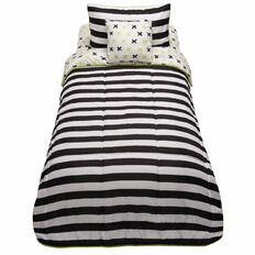 Living & Co Kids Comforter Set Stripe 4 Piece Green Single