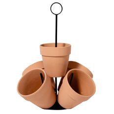 Terracotta Herb Planter 5 Pots with Metal Frame 38cm x 38cm x 38cm