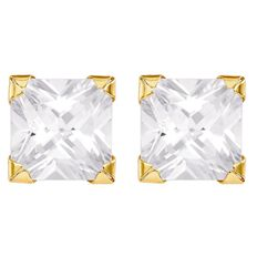 9ct Gold CZ Square Earrings