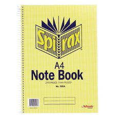 Spirax Notebook A4 Spiral No.595A 240pg 7mm Ruled