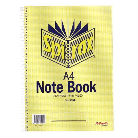 Spirax Notebook A4 Spiral No.595A 240pg 7mm Ruled