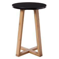 Solano Bamboo Stool Black Seat