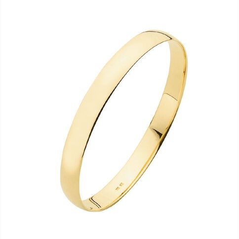 9ct Gold Half Round Solid Bangle 8mm