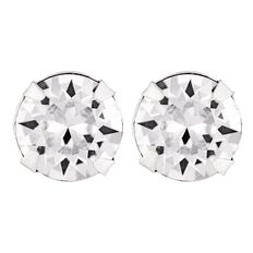 Sterling Silver Swarovski Crystals White Studs 7mm